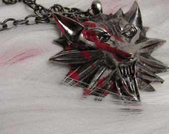 Custom Witcher Medallion  Inspired Necklace - Geralt of Rivia, Witcher 3, Wolf Pendant, Blood Splattered, Battle Worn