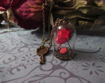 Beauty & The Beast Enchanted Rose Pendant