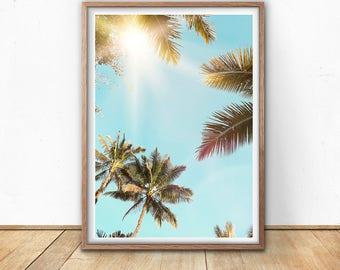 Palm Trees Print - Beach Wall Art, California Print, Tropical Wall Art, Digital Print, Surfer decor, Hawaii Wall Decor, Palm Leaf Poster