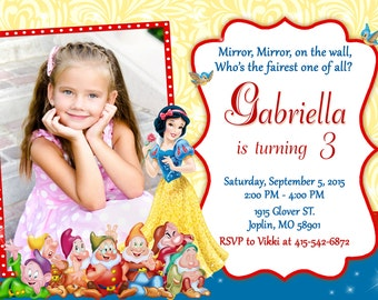 Snow White Invitation Birthday - Snow White Party