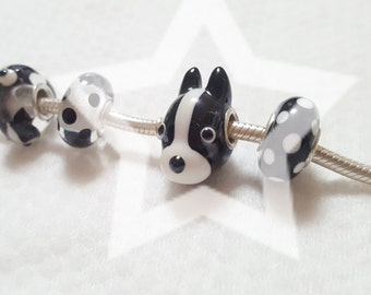 Bostonterrier Glasscharm by Urinamu(Available in both Pandora and trollbeads's bangle) French bulldog
