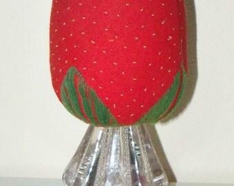 OLD Sewing Make Do Pin Cushion Strawberry