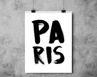 Paris - Black and White Print - France - A4/A3 - Typography - Paintbrush Effect