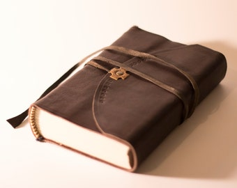 Small Dark Brown Leather Journal / Blank book