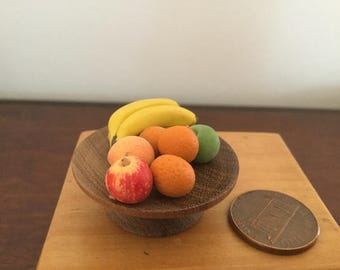 Miniature Dollhouse Fruit with Wood Fruit Stand 1:12 scale