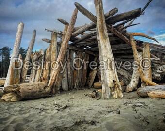 FREE SHIPPING // Beach Decor photography // Beach Hut Scene // Oceanscape Sky // Ocean // Color