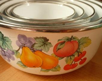 SALE*** Vintage Nesting Enamelware Bowls - Set of 5