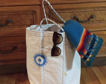 Sail Tote Bag - Neil Pryde - Beach Bag - made with Re-used Sailboat Sails - Reusable grocery bag