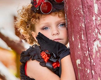Red and Black Steampunk Cupcake Pageant Dress with Fascnator Mini Hat