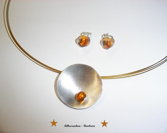 Silver bowl with amber & Silver earrings 925/00