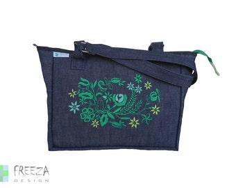 Embroidered shoulder jeans bag, blue, denim bag, eco friendly, upcycled, green flowers