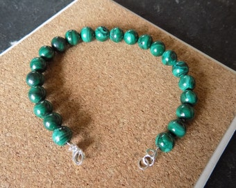 Natural Malachite gemstone bracelet with 950 silver clasp. Hand-made.