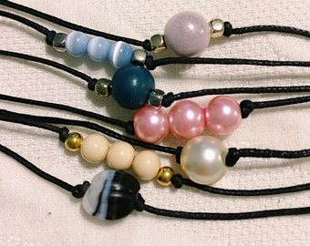 Black Band Colored Pearl Chokers