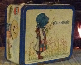 Vintage collectible Holly Hobbie Lunch Box with Thermos. 1972