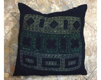 Vintage handmade Tribal BlackHmong embroidered cotton pillow cover