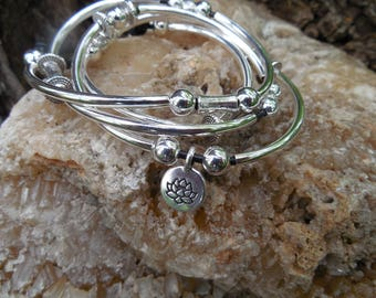 Silver Wrap Bracelet With Lotus Blossom Charm