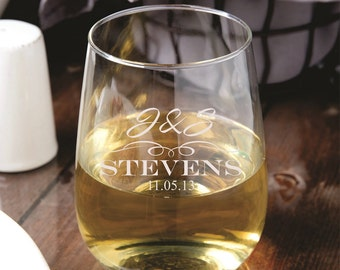 21 Custom Stemless Wine Glasses - Wedding Favors - Bridal Party - Wedding Shower - Bridesmaid Gifts - Personalized Engraved Glassware