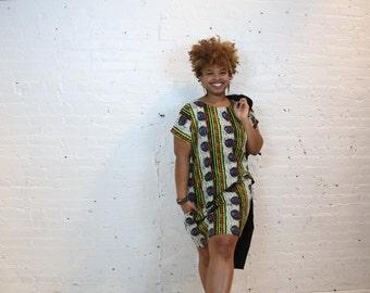 African Print Shift Dress in Blue Seashells