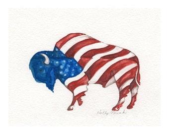 American Bison (Buffalo)-Original Watercolor