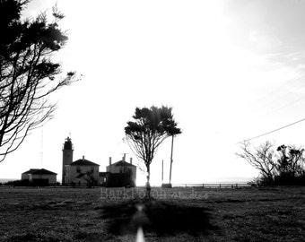 Beavertail Lighthouse; black and white; beach house; Jamestown, Rhode Island; ocean; tree; field; wall art; poster; fine art photography