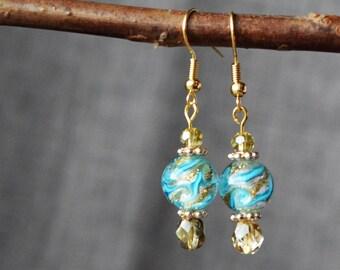 Lampwork Bead Earrings, Blue and Gold Earrings, Jewelry, Dangle Earrings, Gift for Her, Handmade Earrings