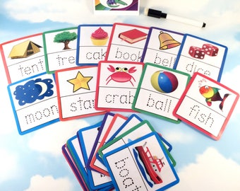 Tracing 4 letter words flash cards, Nursery, Early years, Learning cards, EYFS, Children's development, Pre-school, Education cards