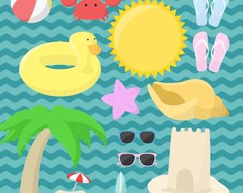 BEACH clipart, pool party clipart, summer graphics, sea clip art pack, pool party graphics, commercial use beach graphics, summer clip art