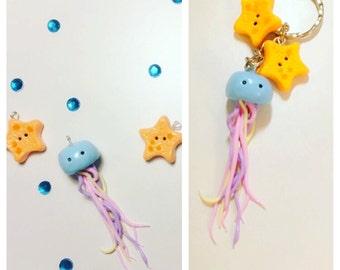 polymer clay charm jellyfish starfish / keychain / bow center / flatback
