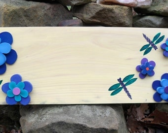 Whimsical Daisies & Dragonflies Custom Personalized Hand Painted Cottage Wood Sign, Wedding, Anniversary, Birthday, New Home, Nursery Sign
