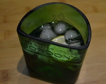 Water, whisky, gin and tonic tumbler from Gordons bottle.