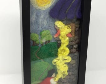 Rapunzel & The Prince, 3-D Framed Wall Decor, Needle Felted, Original Art