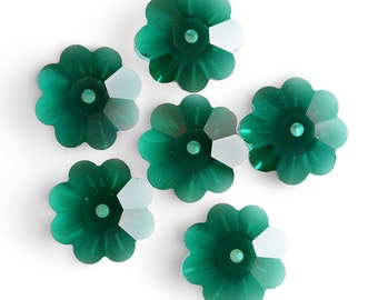 Swarovski Crystal Marguerite Lochrose (Flower) 3700 Emerald Spacer Beads (Package of 6 Beads) Available in 6mm, 8mm, 10mm