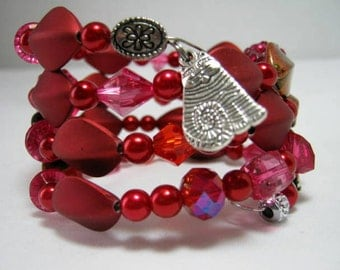 Cat Charm Beads Memory Wire Wrap Bracelet