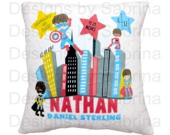 SUPERHERO Baby PILLOW-Baby Pillow-Birth Announcement-Nursery Decor-Baby Pillow-Personalized Pillow-New Baby-Birth Stats-Superhero-Comics