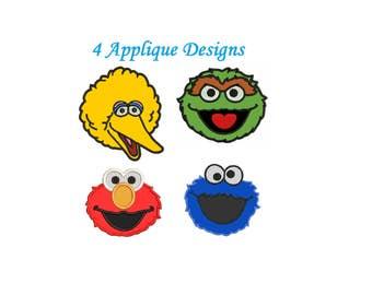 Cookie Monster Applique Design - 4 designs instant download