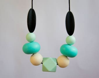 Turquoise Silicone Necklace   Teething Necklace   Teething Jewelry   Teething baby   Baby shower gift   Nursing Necklace  Chew Necklace