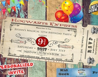 Harry Potter Hogwarts Express Themed Personalized Train Ticket Birthday Invitation! Unique invite!