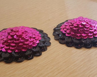 Black and Fuchsia Sequined Pasties