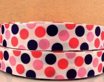 Polka Dots Ribbon-Polka Dots Grosgrain Ribbon-Pink and Purple Polka Dots