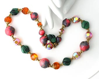 Vintage Necklace Aurora Borealis Beads , Statement, Multi Color Beads, Chunky Necklace, TheKeepDrawer