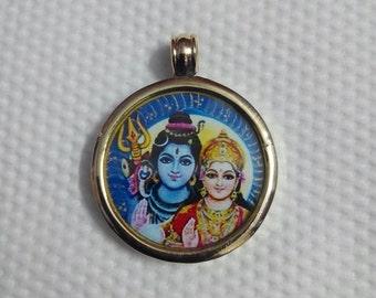 Handmade Handcrafted Brass Hindu Deity Shiva and Parvati Pendant Shiva Shakti Necklace Size 2.6 Cm. Om Namah Shivaya