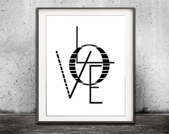 LOVE Print Typography Digital Print Black And White Love Sign Quote Modern Home Decor Printable Wall Art Instant Download Print Romance 3D