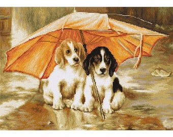 Counted Cross Stitch Kit Couple Under an Umbrella Counted Cross Stitch Luca-S
