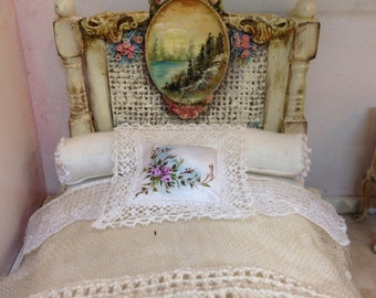 Polychrome wooden bed. Hand painted furnitures
