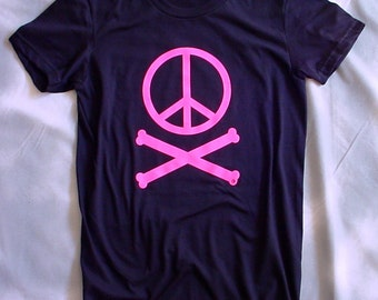 Peace sign and crossbones, black and pink, womens and teens t-shirts