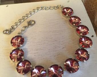 PINK ICE - 12mm Swarovski Crystal Bracelet - Antique pink