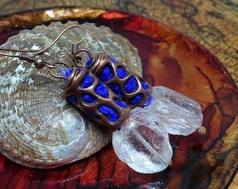Bronze, Quartz Crystal, and Sari SIlk Earrings