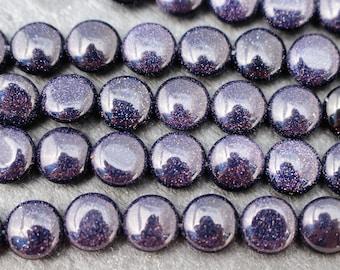 Sparkly! 8mm Blue Goldstone / Blue Sandstone Beads, Coin Shaped - Full Strand or Half Strand