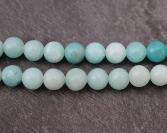 6mm Amazonite Beads, Round - Half Strand, Natural Amazonite, 6mm Blue Green Beads