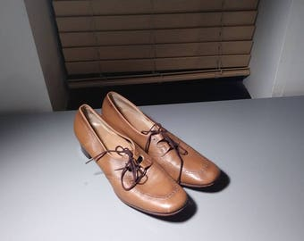 Tan leather Mary Janes size 12